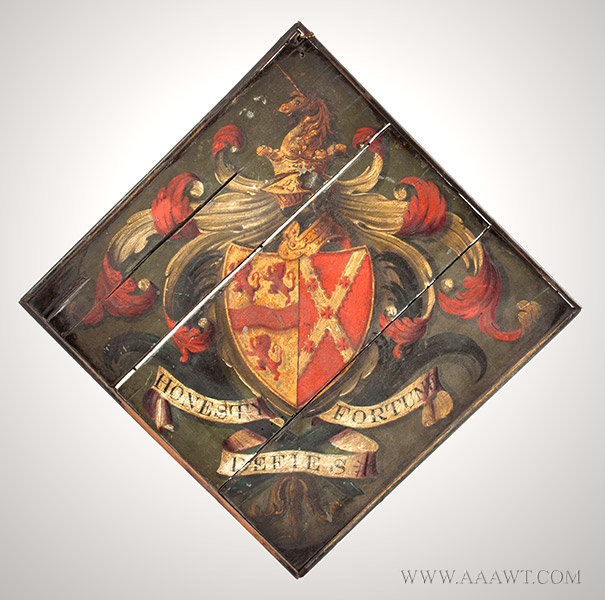 Hatchment, Painted Wood, Bearing Motto, Honesty Defies Fortune  Coat of arms celebrating family distinction and lineage  England, 19th Century, entire view