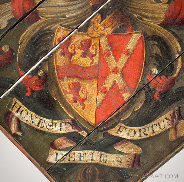 Hatchment, Painted Wood, Bearing Motto, Honesty Defies Fortune  Coat of arms celebrating family distinction and lineage  England, 19th Century, crest detail