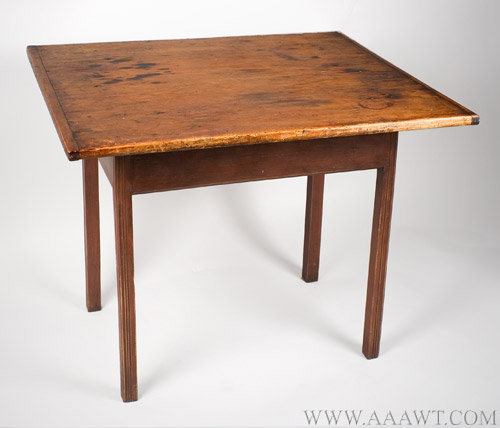 Table, Chippendale, Tavern, Tap, Work, Reeded Legs, Old Red Paint New England, Circa 1775ish, angle view