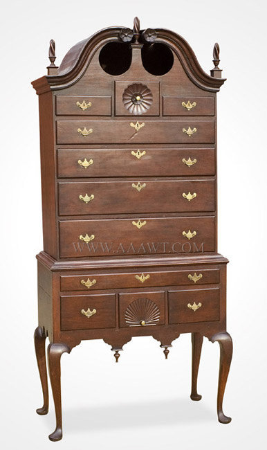 Antique Queen Anne Bonnet Top Highboy, Connecticut, Circa 1770, angle view