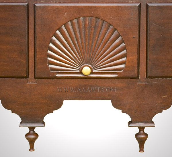 Antique Queen Anne Bonnet Top Highboy, Connecticut, Circa 1770, carved drawer and drop finials detail