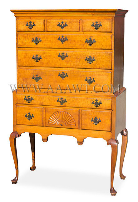 Highboy, Queen Anne, Curly Maple, Carved New England, North Shore, possibly Salem Circa 1740 to 1760, entire view