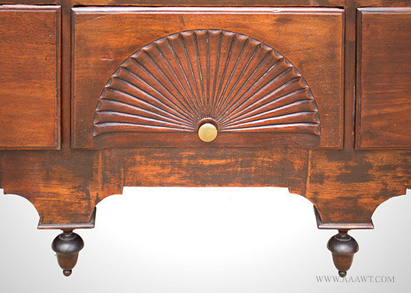 Antique Highboy, Fan Carved, Claw and Ball Feet, Old Surface, Walnut North Shore Massachusetts, 1750 to 1760, bottom detail
