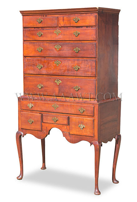 Highboy, Diminutive Good Color, Perfect Drawer Overhanging Thumb Molding New England, Circa 1760, entire view