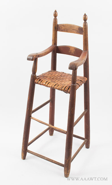 Highchair, Ladder Back, Splayed Legs, Original Red Paint, Wonderful Surface New England, Circa 1780 to 1800, angle view