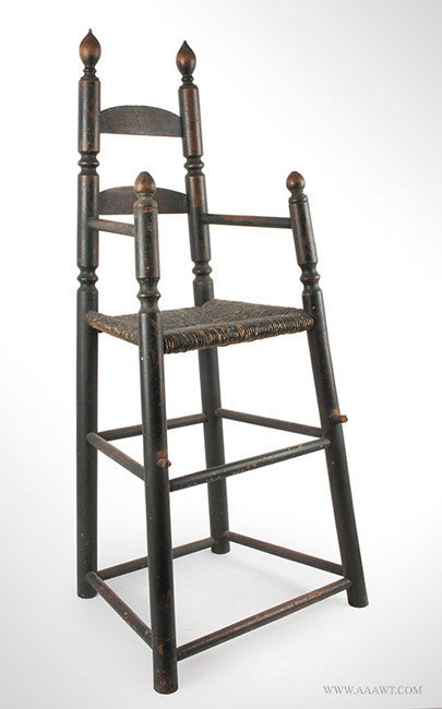 Antique Sausage Turned Rush Bottom Highchair, Circa 1800, angle view