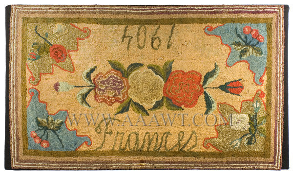 Antique Hooked Rug, Floral, Dated 1904, entire view
