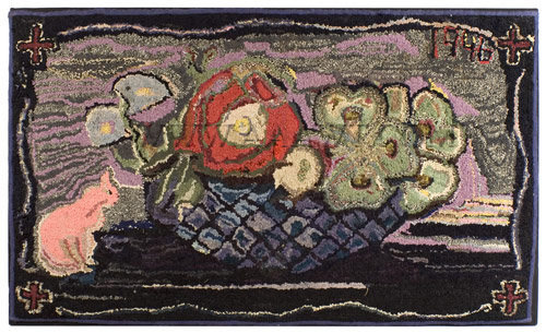 Amazing Antique Hooked Rug, Pink Colored Cat, Basket Of Flowers, Entire View