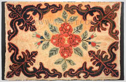 Antique Hooked and Sheared Rug, Floral, 19th Century, entire view