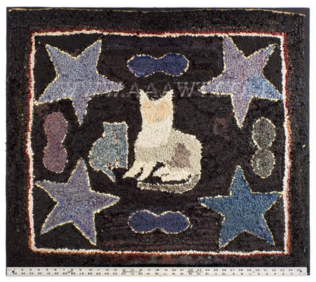 Antique Hooked Rug, Cat with Stars, Circa 1900, with ruler for scale