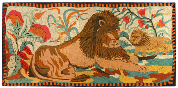 Antique Hooked Rug, Yarn Sewn, Lion and Palm, Ebenezer Ross Pattern, entire view
