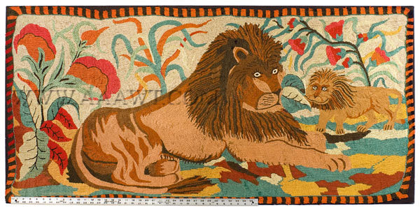 Antique Hooked Rug, Yarn Sewn, Lion and Palm, Ebenezer Ross Pattern, with ruler for scale