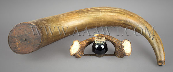 Antique Cannon Powder Horn, Stag Horn Desk Inkwell, group view