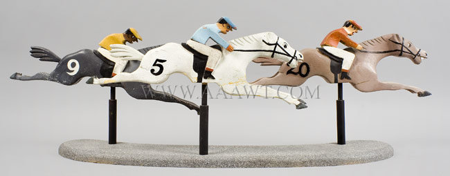 Antique Carved Race Horses and Jockeys, Group of Three, group view