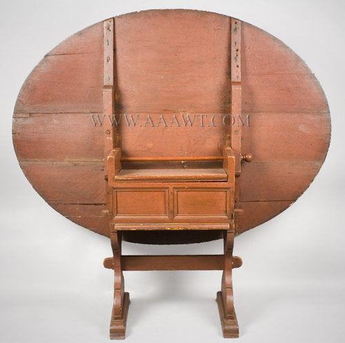 Hutch Table, Oval, Hourglass Stiles, Shoe Feet, Old Red Painted Surface  Hudson River Valley, New York, Circa 1750. Pine - SOLD - Antique Furniture_Tavern Tables, Chair Tables, Hutch Tables, Harvest