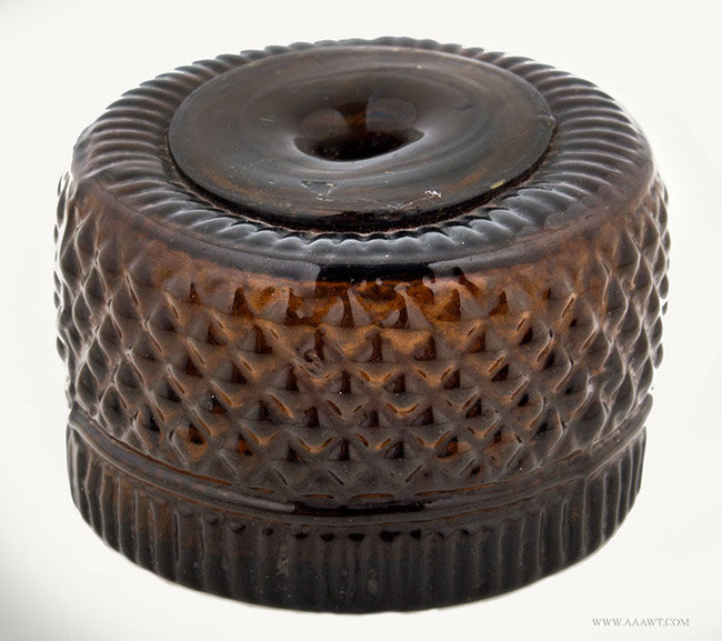 Antique Geometric Blown Three Mold Inkwell with Disk Mouth, Connecticut, Circa 1815, angle view