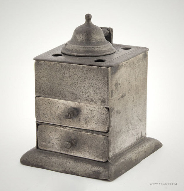 Antique Pewter Cubed Inkstand, English or Irish, Circa 1780, entire view