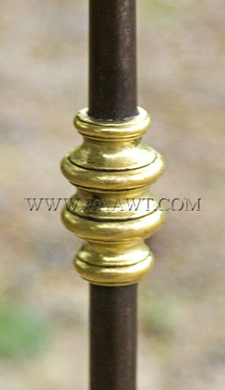 Brass and Wrought Iron Floor Candle Stand, Massachusetts