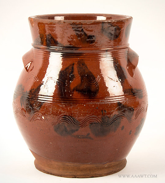 Antique Redware Ovoid Storage Jar with Flared Rim, Connecticut, Circa 1820 to 1850, entire view 2