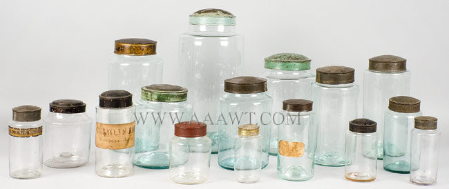 Blown Glass Storage Jars, Apothecary Jars  Painted, Japanned and Tin Lids  Lot of Sixteen, including rare small sizes  19th Century, group view