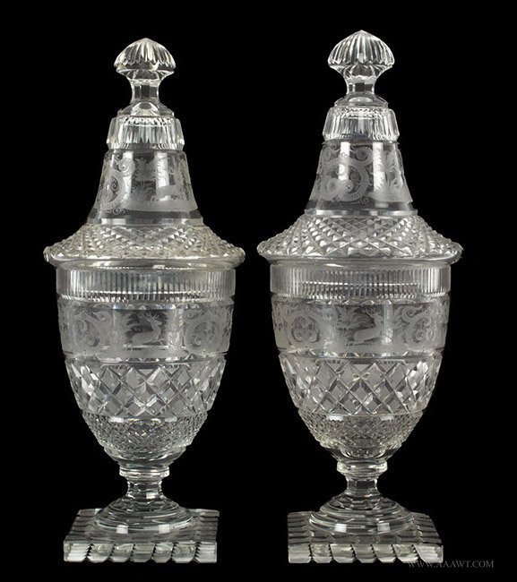 Antique Pair of Cut and Engraved Clear Glass Urns, Circa 1840, entire view