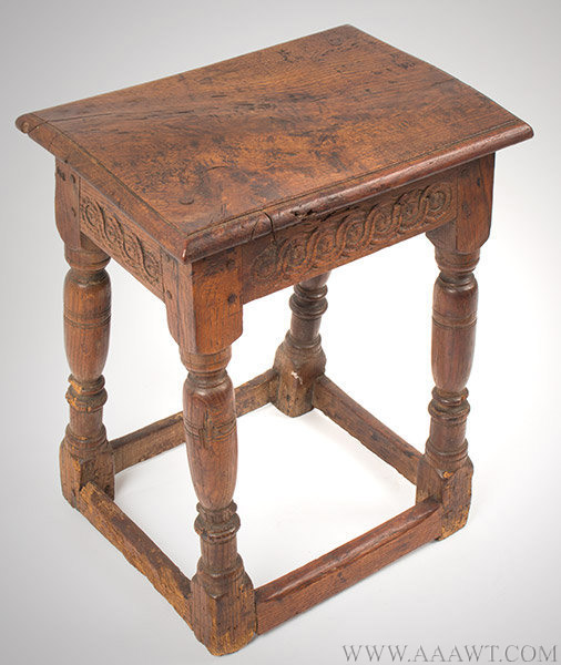 Joint Stool, William and Mary, Molded Top, Carved Rails, Block and Turned Legs  England, 17th Century, angle view