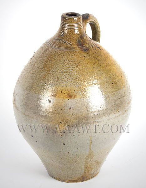 Stoneware Ovoid Jug Attributed to Fenton or Carpenter    Boston, Late 18th Century, entire view