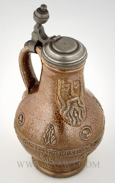 Bartmann Jug, Salt Glaze Stoneware with Wash    Pewter Mounted    Frechen    Dated 1699, entire view