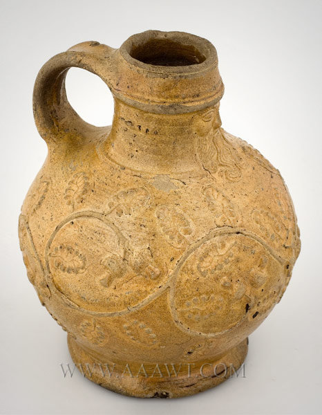 German Brown Saltglaze, Stoneware Bellarmine Jug    Bartmannkrug, early round form    Circa 1540 to 1550, entire view
