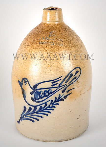 Stoneware Jug, F.B. Norton, Worcester, Massachusetts, Cobalt Dove Decoration    Two Gallon, Circa 1880, entire view