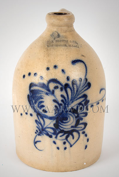 Stoneware Jug, F.B. Norton, Worcester, Massachusetts, Two Gallon, Floral Stylized floral design featuring slip dotted trails, entire view