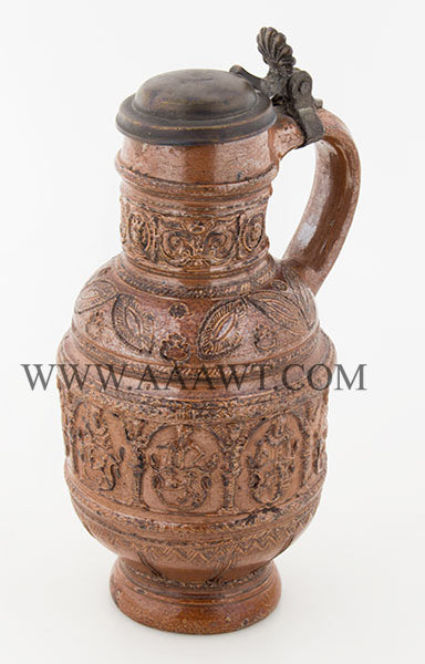 Raeren, Brown Salt Glaze Jug, Kurfursten Krug, Pewter Mounted,    Germany    Circa 1600, entire view