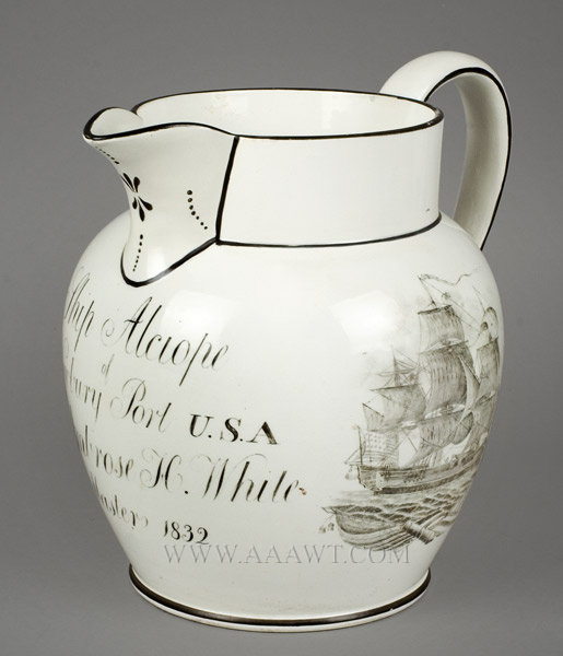 Staffordshire Pitcher, Ship Alciope, Newbury Port, Massachusetts