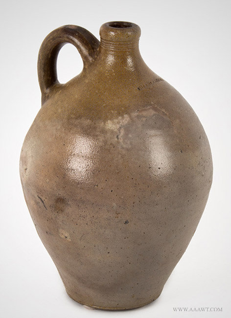 Antique Ovoid Stoneware Jug impressed Charlestown with Reeded Neck, Early 19th Century, angle view
