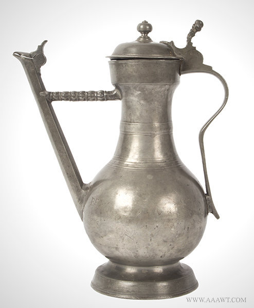 Antique Swiss Lidded Pewter Flagon/Wine Jug, 18th Century, entire view