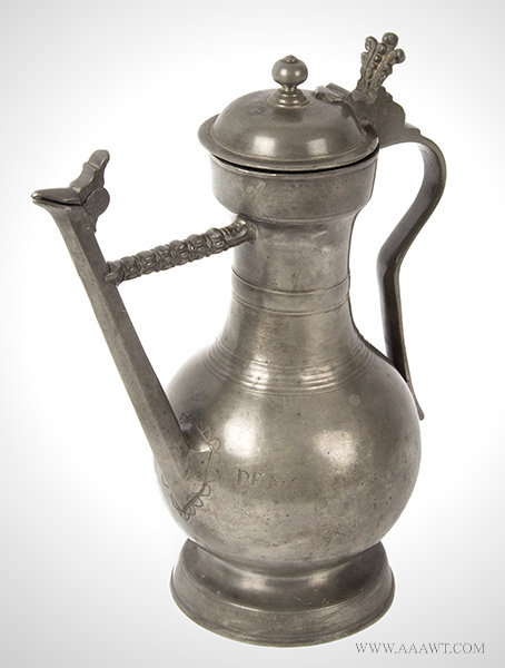 Antique Swiss Lidded Pewter Flagon/Wine Jug, 18th Century, angle view