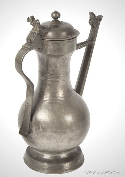 Antique Swiss Lidded Pewter Flagon/Wine Jug, 18th Century, rear angle view