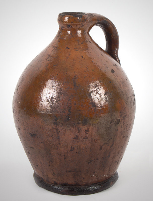 Antique Redware Jug with Handle, New England, 19th Century, angle view