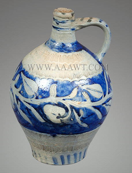 Salt Glazed Stoneware Jug, Westerwald, Flower Decoration, Kerpschnitt    Westerwald Germany    Circa 1800, entire view