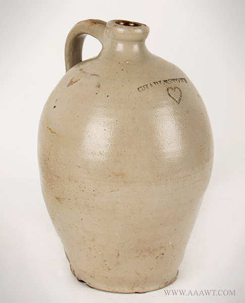 Antique Stoneware Jug with Impressed Heart Decoration, Charlestown, 19th Century, angle view