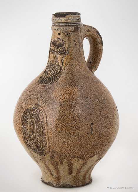 Antique Small Salt Glazed Stoneware Graybeard Jug, Germany, Early 17th Century, angle view 1