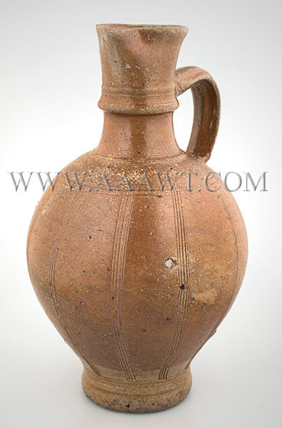 Brown Saltglaze Stoneware Serving Jug, Spouted Pitcher, Strap Handle Rearen, Germany First Half of 17th Century, entire view 1