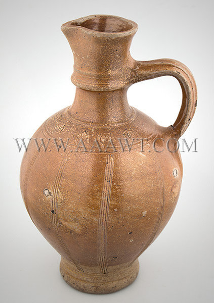 Brown Saltglaze Stoneware Serving Jug, Spouted Pitcher, Strap Handle Rearen, Germany First Half of 17th Century, entire view 2