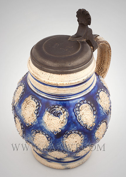 Salt Glazed Stoneware Lidded Barrel Form Jug, Tulip Decoration, Brushed in Blue