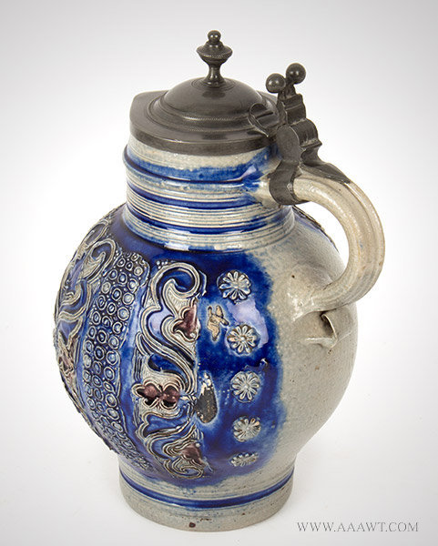 Antique Salt Glazed Stoneware Lidded Pitcher, Kugelbauchkanne, Pewter Mounted view 1