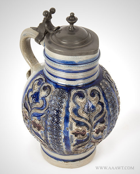 Antique Salt Glazed Stoneware Lidded Pitcher, Kugelbauchkanne, Pewter Mounted