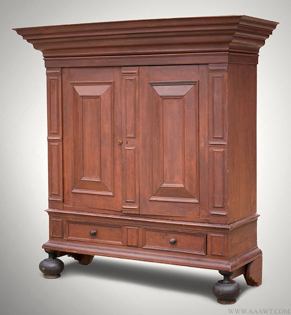Antique William and mary Kas in Original Red Surface, New York, Circa 1720, - Antique Furniture_Cupboards, Built-in Cupboards, Corner Cupboards