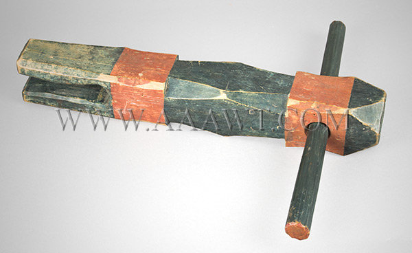 Antique Rope Bed Key, Carved and Painted, Circa 1780 to 1810, entire view