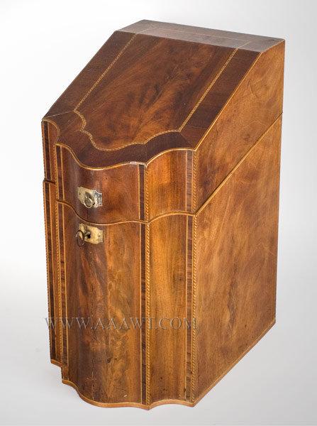 Knife Box, Serpentine Front with Sloping Lid Mahogany and various inlays Late 18th Century, angle view