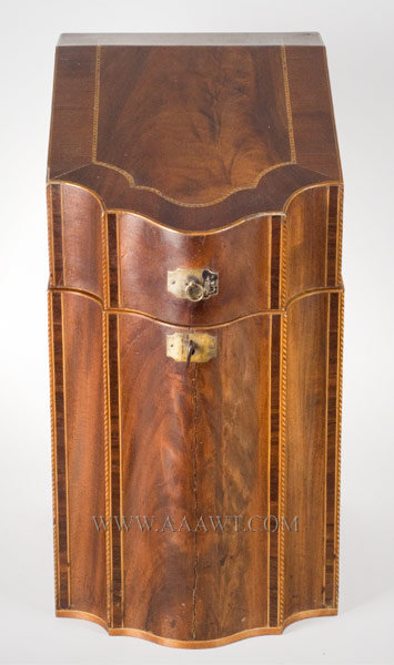 Knife Box, Serpentine Front with Sloping Lid Mahogany and various inlays Late 18th Century, entire view